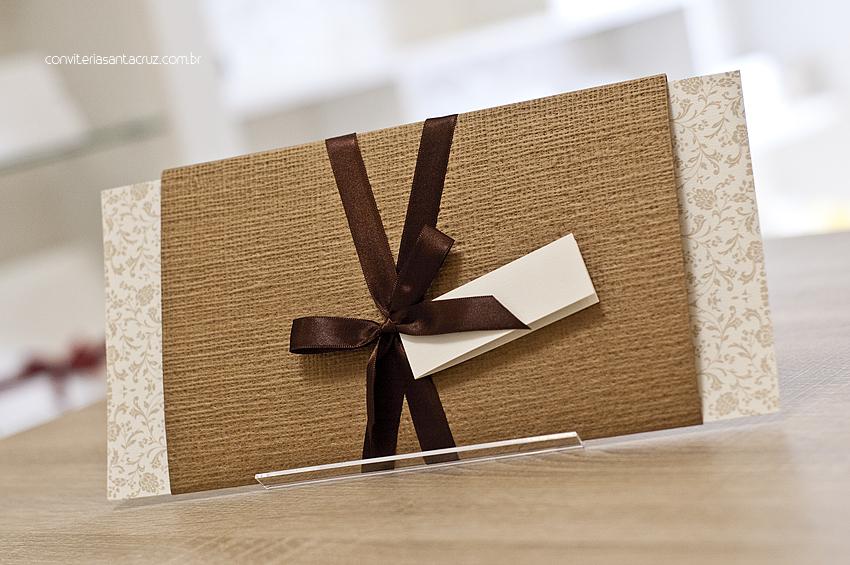 Convite de casamento rústico-chique: cartão e luva.