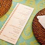O cardápio exclusivo também possui os elementos de personalização do convite.