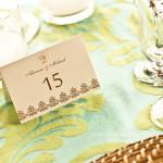 Detalhe dos marcadores de mesa personalizados.