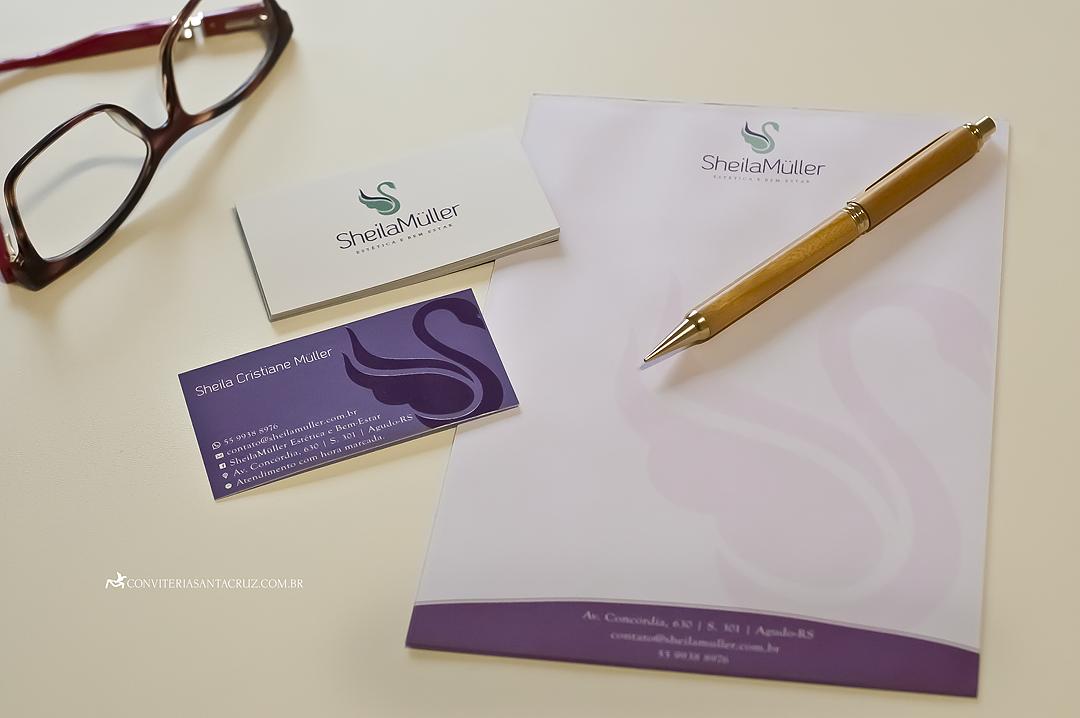 Papelaria institucional: cartão de visitas e receituário.