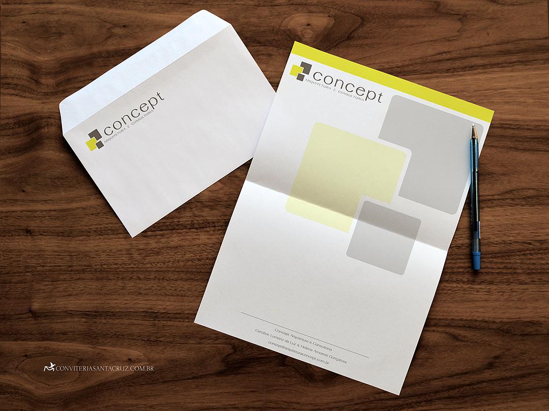 Envelope personalizado e papel timbrado da Concept.