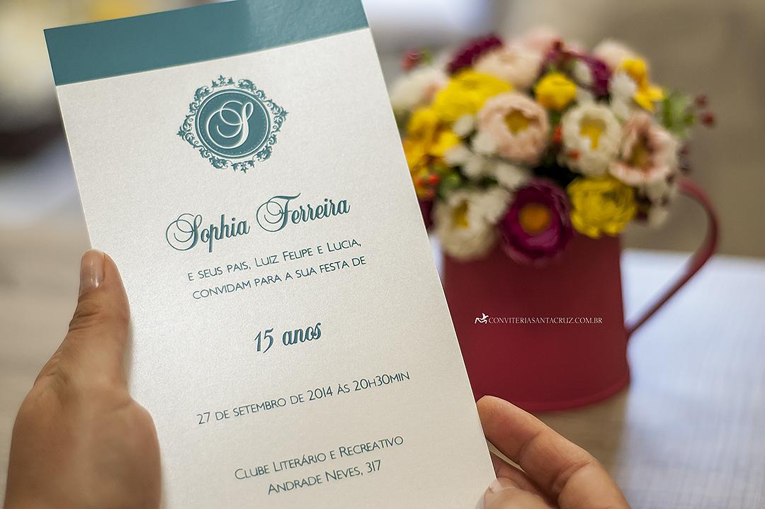 Cartão em silkscreen turquesa.