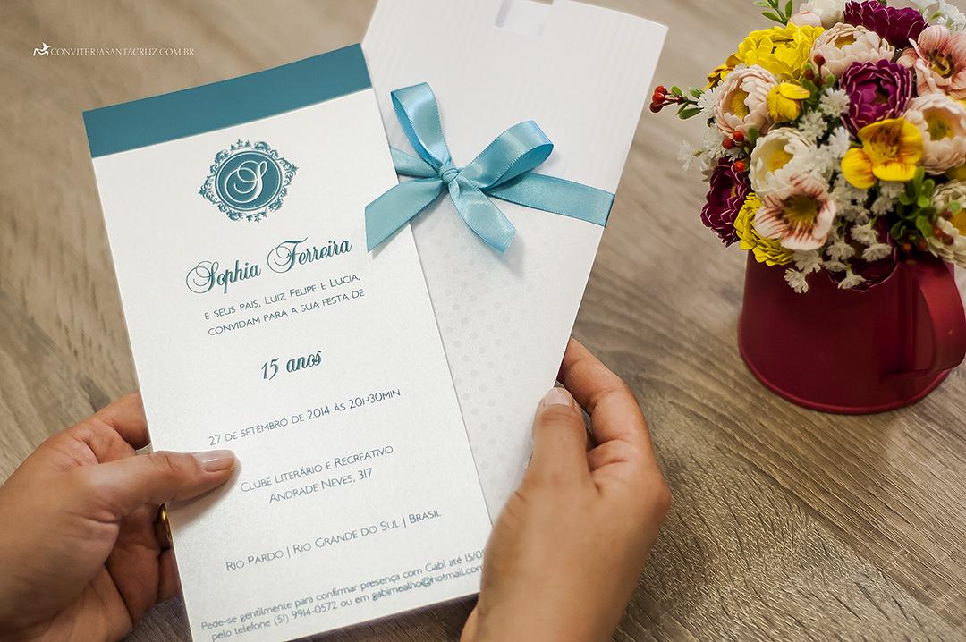 Convite lindo e delicado em azul Tiffany.