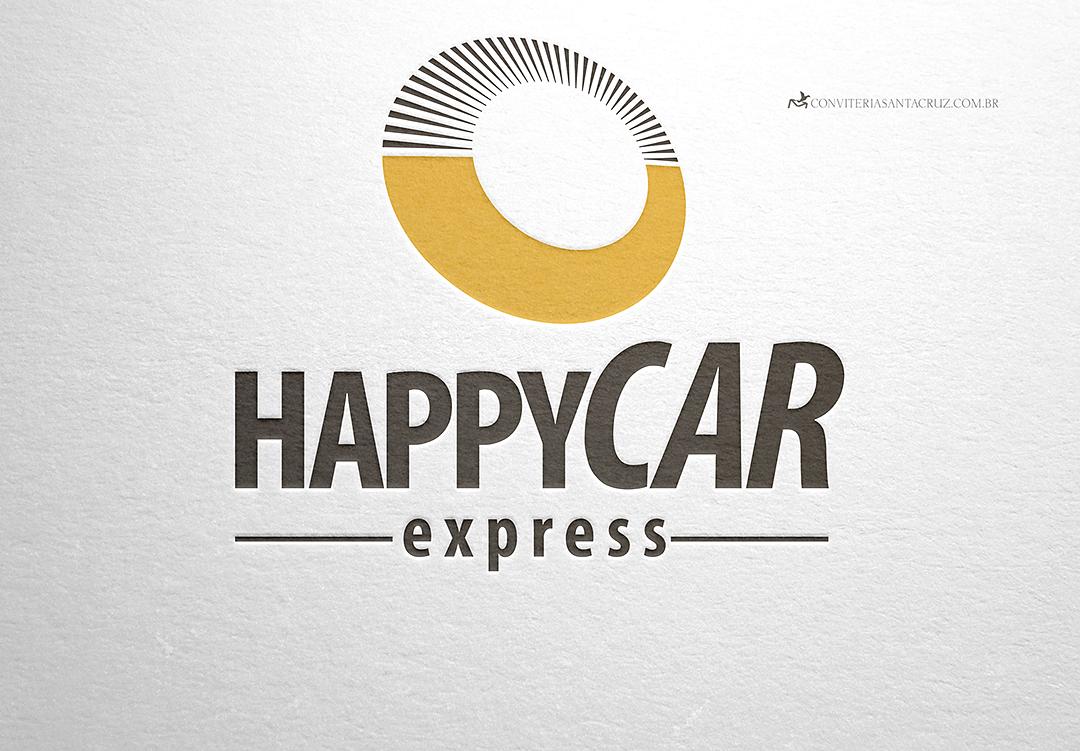 Logotipo HappyCar Express - aplicação em letterpress.