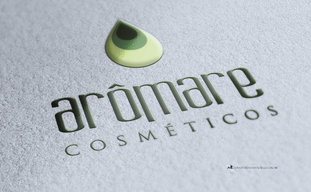 Aplicação do logotipo colorido da Arômare Cosméticos.