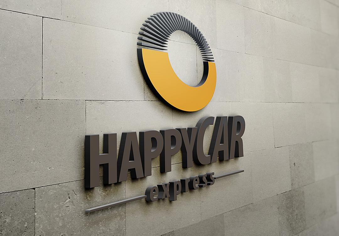 Logotipo HappyCar Express - simulação de letreiro na parede.