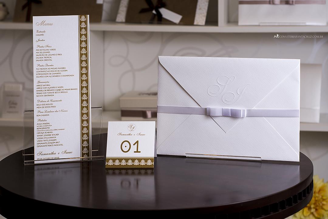 Convite de casamento simples, chique e elegante.