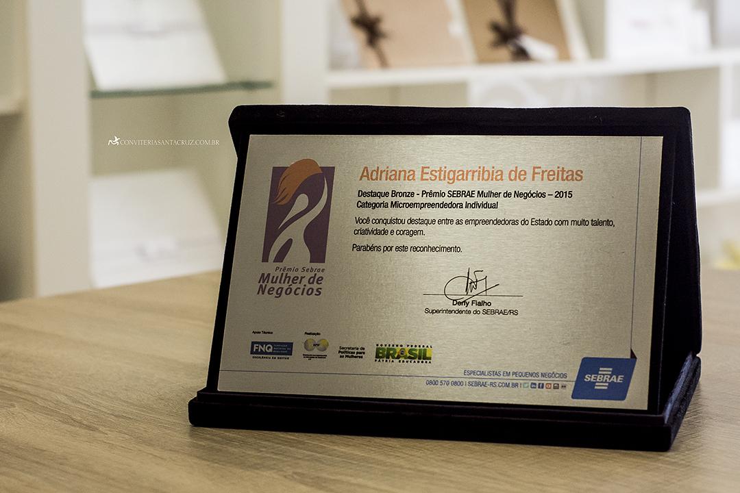 Conviteria Santa Cruz no Prêmio SEBRAE Mulher de Negócios 2015.